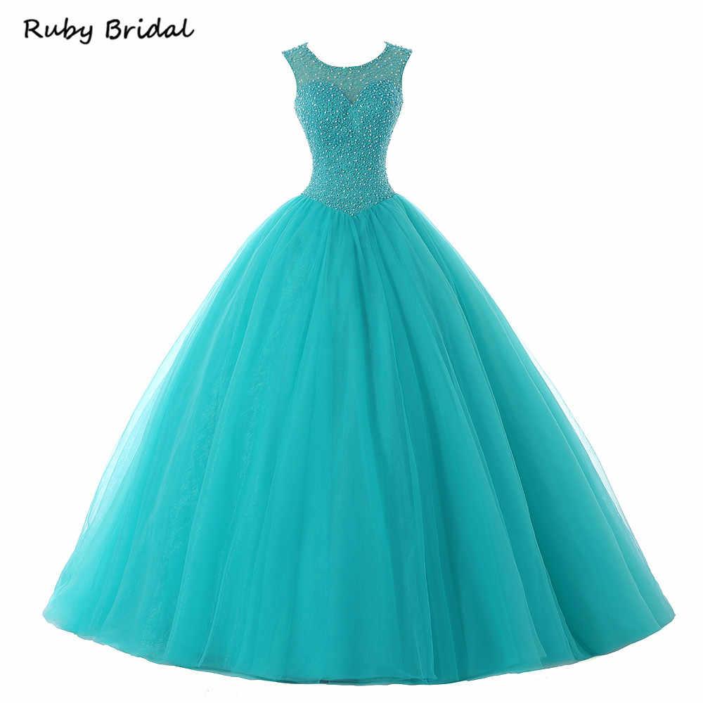 Rubi nupcial 2017 vestido de baile longo quinceanera vestidos tule azul frisado luxo quente vestido festa de formatura p1215