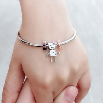 2018 New silver Bella bot Bead charms bangle fit original European&USA bracelet for women kid jewelry Christmas&New Year gifts bangle