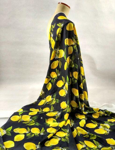 New Super silk satin fabric black/yellow lemon flowers Crepe designs ...
