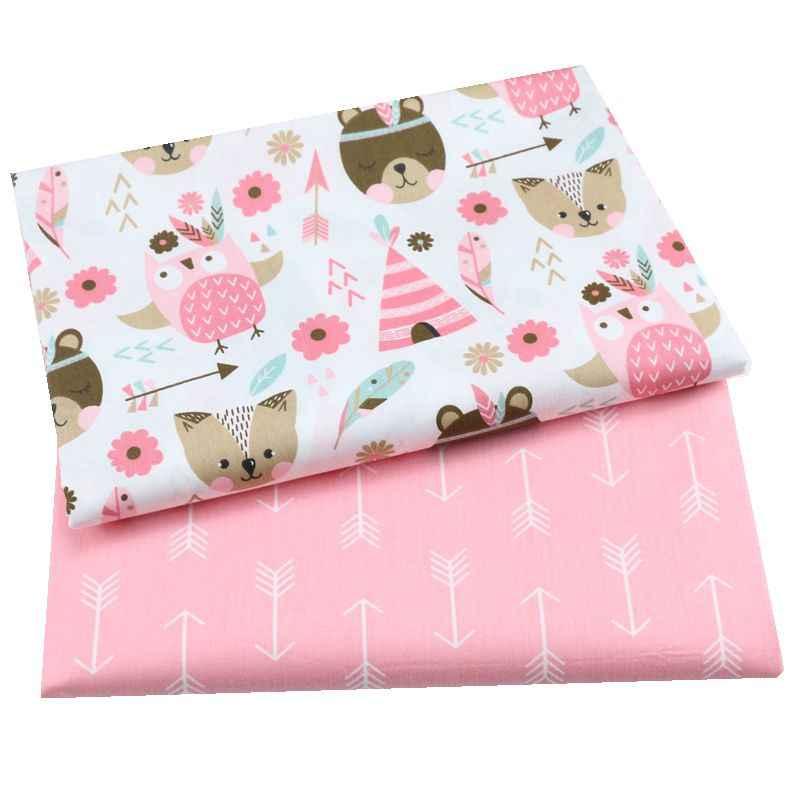 2PCS 유니콘, 옷을 만들기위한 꽃 100% 코 튼 원단 침대 시트 패치 워크 천을 바느질 DIY 직물 아기 어린이위한
