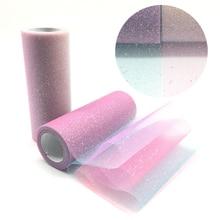 Rainbow Glitter Tulle Roll 10Yard/Roll Width 15cm  Crystal Sequin Organza DIY Craft Tutu Skirt Gift Home Wedding Party Decor