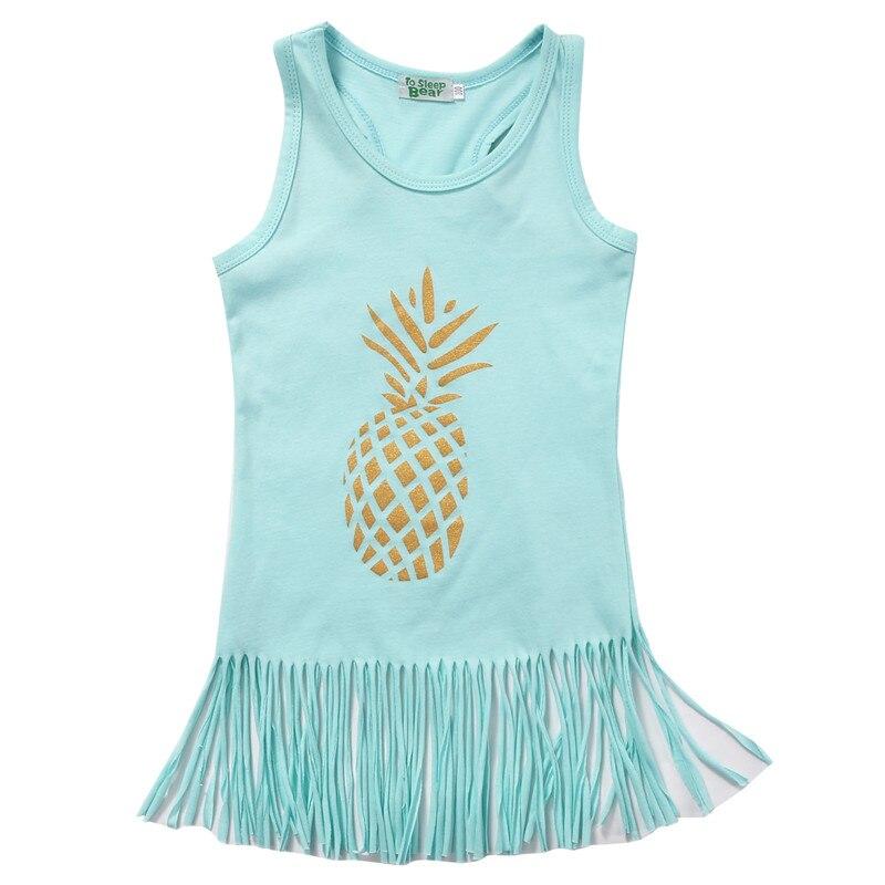 Toddler Kids Infant Baby Girls Dress Cotton Fruit Pineapple Sleeveless Beach Style Tassel Party Dresses Summer Sundress