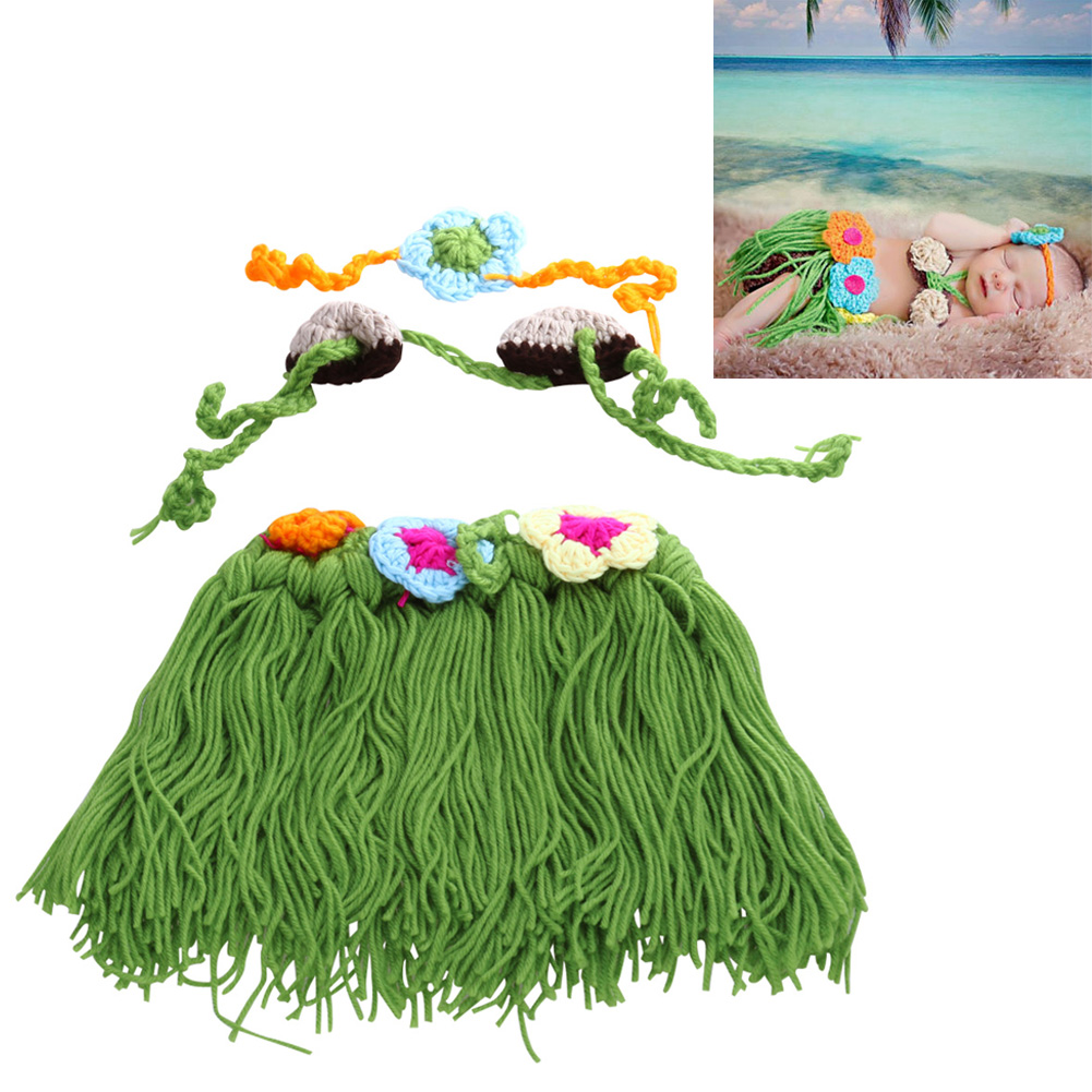 Baby Photo Props Cartoon Hula Girls Style Handmade Crochet Cotton Baby Clothing Accessories Newborn Photography Props