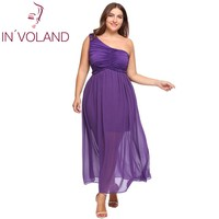 IN'VOLAND Big Size 5XL Women Chiffon Dress Plus Size Vintage One Shoulder Ruched Maxi Party Dresses Feminino Vestiods Femme Robe