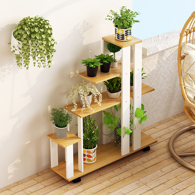 15LK610 Indoor Balcony Wooden Floor Shelves Multi-functional Flower Potted Stand Multi-storey Storage Rack With Universal Wheels