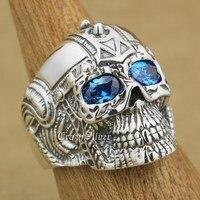 Dark Aquamarine Eyes 925 Sterling Silver Gothic Tattoo Skull Mens Biker Rocker Punk Ring 9G105 US