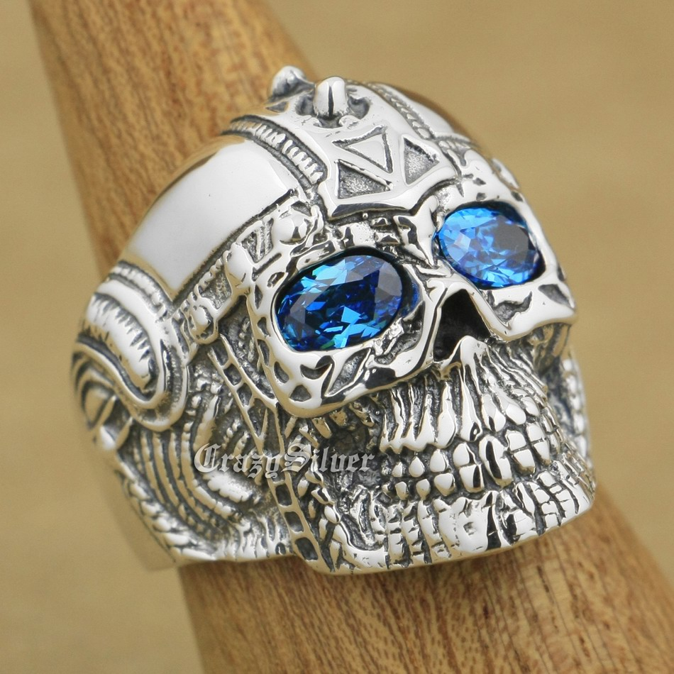 Blue CZ Eyes 925 Sterling Silver Gothic Tattoo Skull Mens Biker Rocker Punk Ring 9G105 US Size 7~15Blue CZ Eyes 925 Sterling Silver Gothic Tattoo Skull Mens Biker Rocker Punk Ring 9G105 US Size 7~15