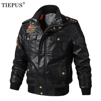 TIEPUS leather jacket men fashion motorcycle PU jacket plus size M~4XL, 5XL, 6XL bomber casual leather jacket men's clothing men s pu leather jacket fashion fit biker motorcycle jacket bomber jackets and coat men m 4xl 4 zipper 2 prockets