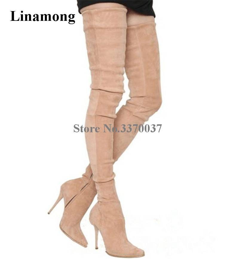 Hot Selling Women Sexy Pointed Toe Suede Leather Over Knee Thin Heel Boots Bandage Thigh High Heel Long Boots Dress Shoes hot selling black leather pointed toe long boots over the knee thigh high boots sexy tight high women shoes free shipping