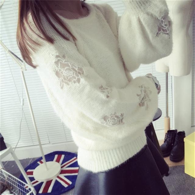 2015 Mujeres de La Moda de Invierno de Punto Suéter de Las Muchachas Blanco O-cuello Suéteres jerseys Calientes de La Venta Ocasionales Femeninos Espesar Ropa de la cachemira