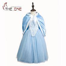 Filles Cendrillon Cosplay Costume Enfants Bleu Fleur Dentelle Princesse Partie Robes Enfants Fille Elsa De Noël Manteau Cape robe de Bal
