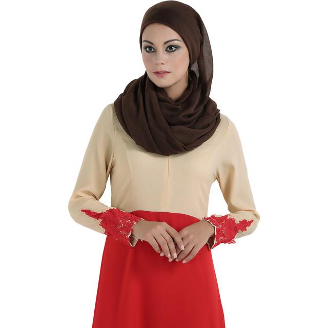 Fall Fashion Women Spliced Muslim Dress Long Sleeve Embroidered Flower Islamic Abaya Dubai Caftan Dress Maxi Robe Vestidos