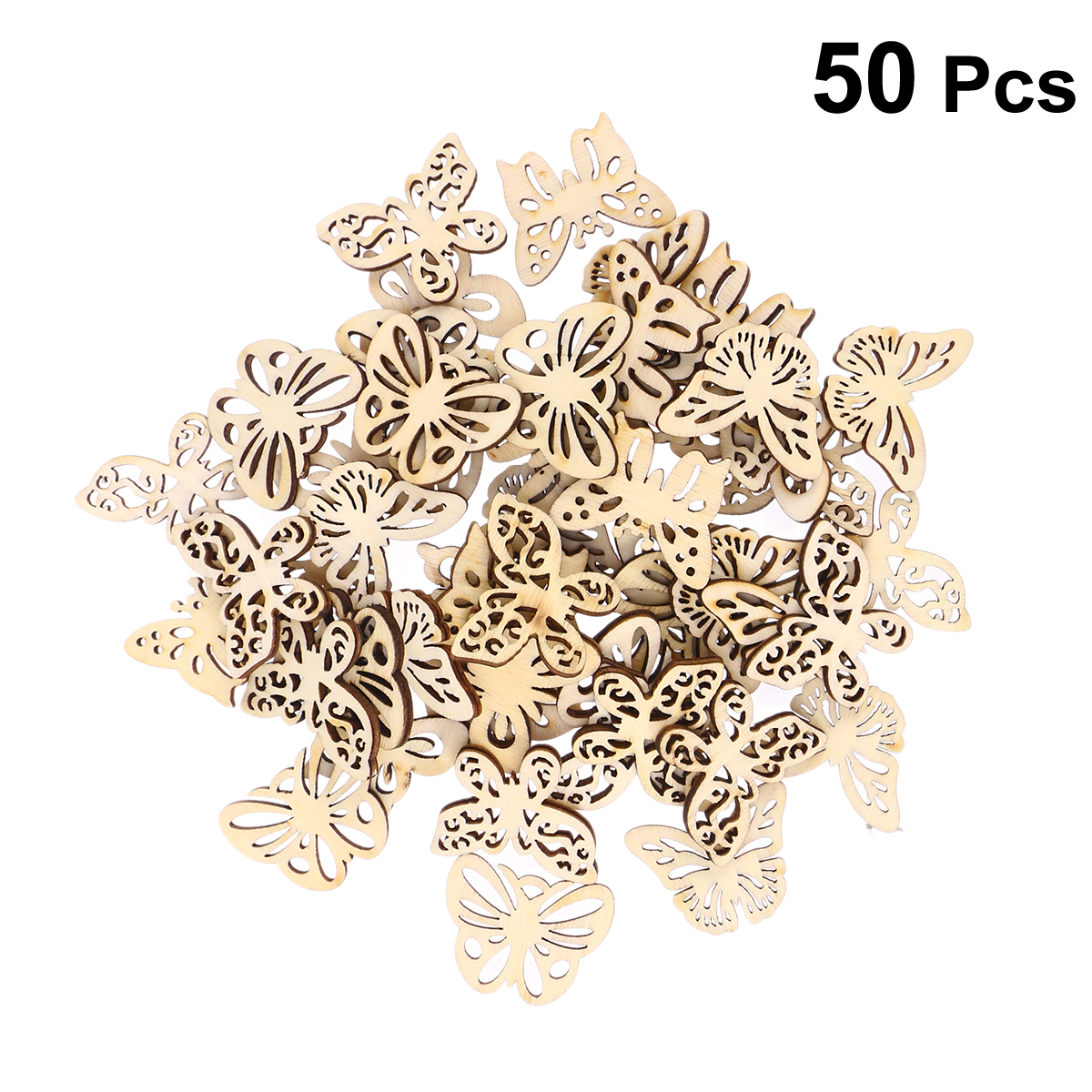 50pcs Mixed DIY Hollow Wooden Butterflies Cutouts Craft Embellishments Wood Ornament For DIY Art Wedding Decoration(33mm)