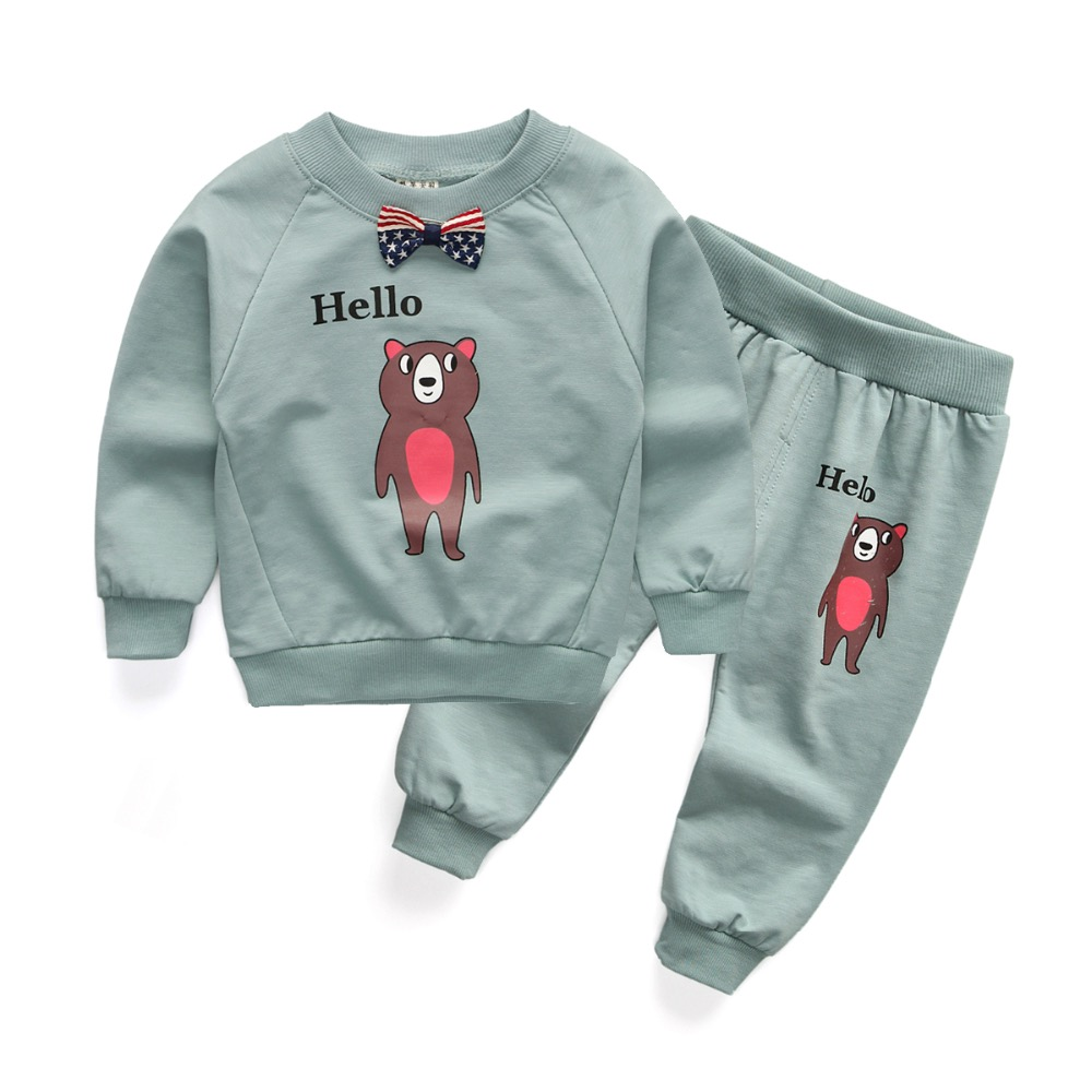 2016 New cotton autumn children baby clothing set infant boys girls Embroidery bear suits shirt+pants sets for Roupas de bebe