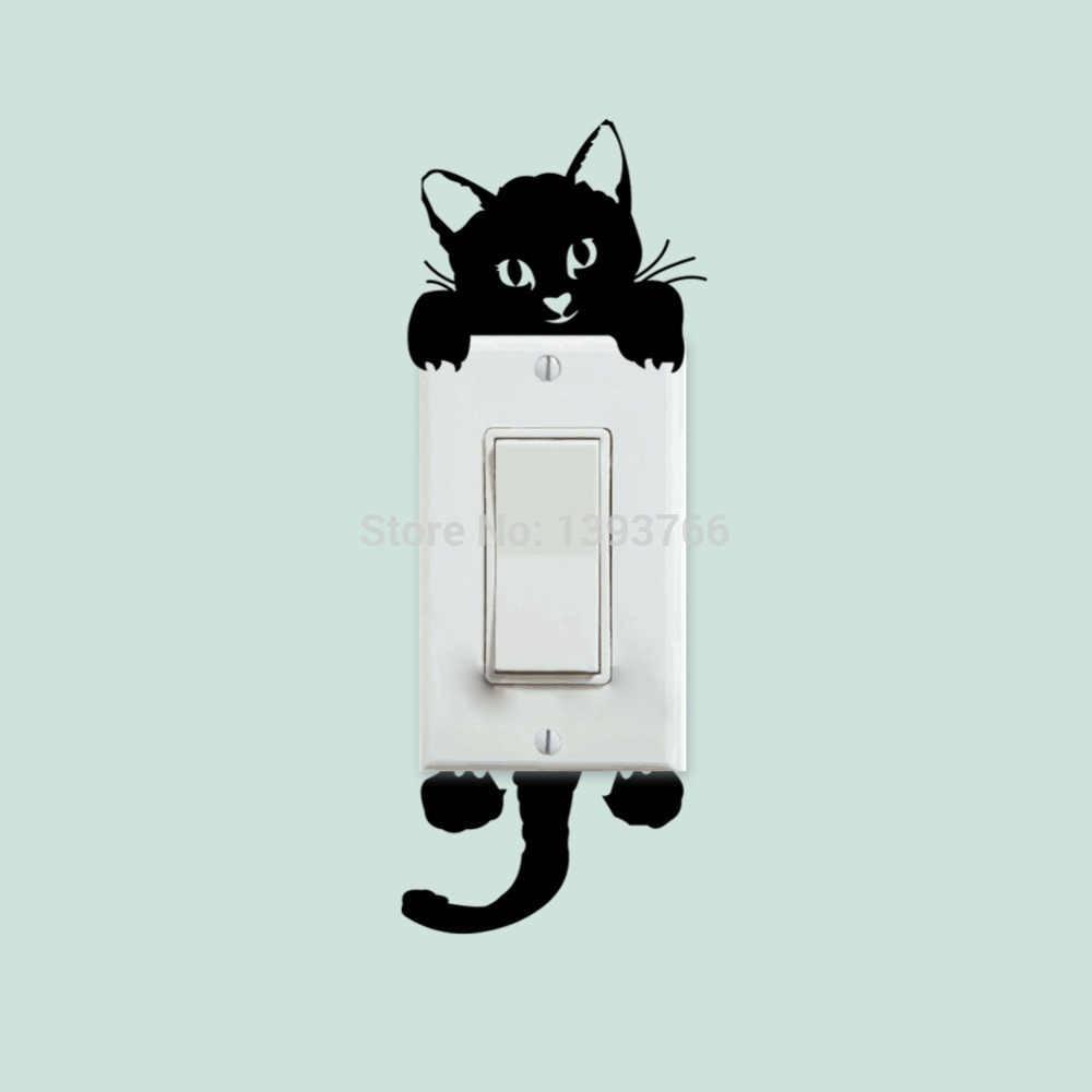 DIY 재미 있은 귀여운 고양이 개 스위치 스티커 벽 스티커 홈 장식 침실 응접실 장식 뜨거운