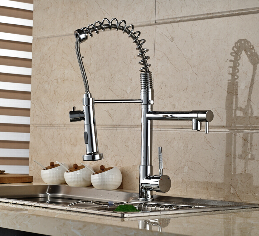 Modern Spring Kitchen Faucet Dual Swivel Spout Vessel Bar Vanity Sink Mixer Tap Chrome Finished good quality wholesale and retail chrome finished pull out spring kitchen faucet swivel spout vessel sink mixer tap lk 9907