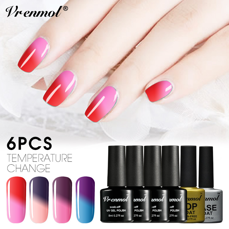 Vrenmol 6pcs 8ml Nail Art Kits Gel Varnish Art Temperature Changing ...