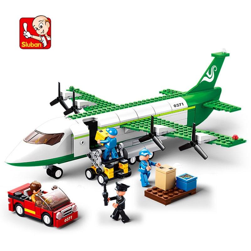 SLUBAN 0371 City Aviation Air Airplane Plane Building Blocks Brick Set Compatible LegoIN Technic Playmobil Toys For Children
