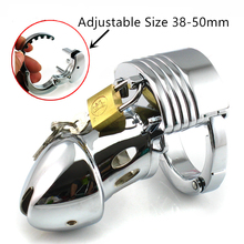 Quality Adjustable Size Male Chastity Cage Zinc Alloy Chastity Device Cock Cage Penis Ring BDSM Toy for Adult Game G7-1-226