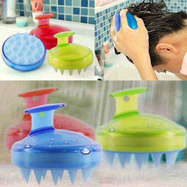 Drop Ship 1Pcs Salon Hair Brush Silicone Spa Shampoo Brush Shower Bath Comb Hairbrush Props Soft Styling Tool cepillo pelo 3