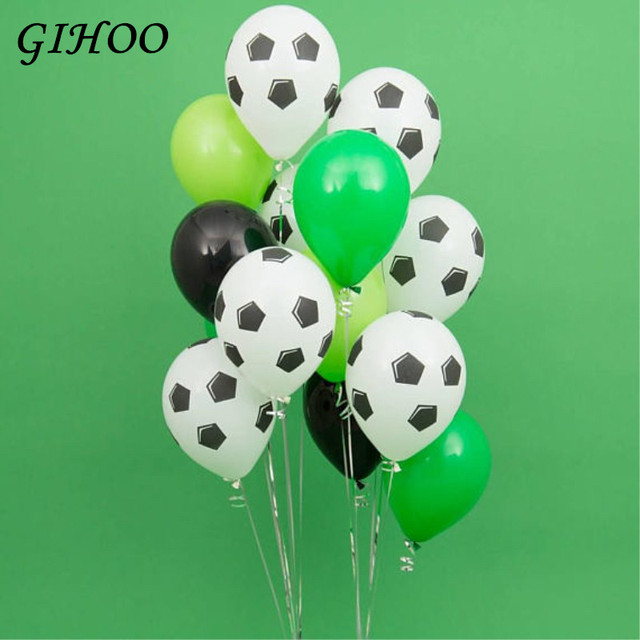 13Pcs Green Football Soccer Theme Party Round Balloons Black White Ballons Globo for Boys Birthday Games Toys Party Supplies
