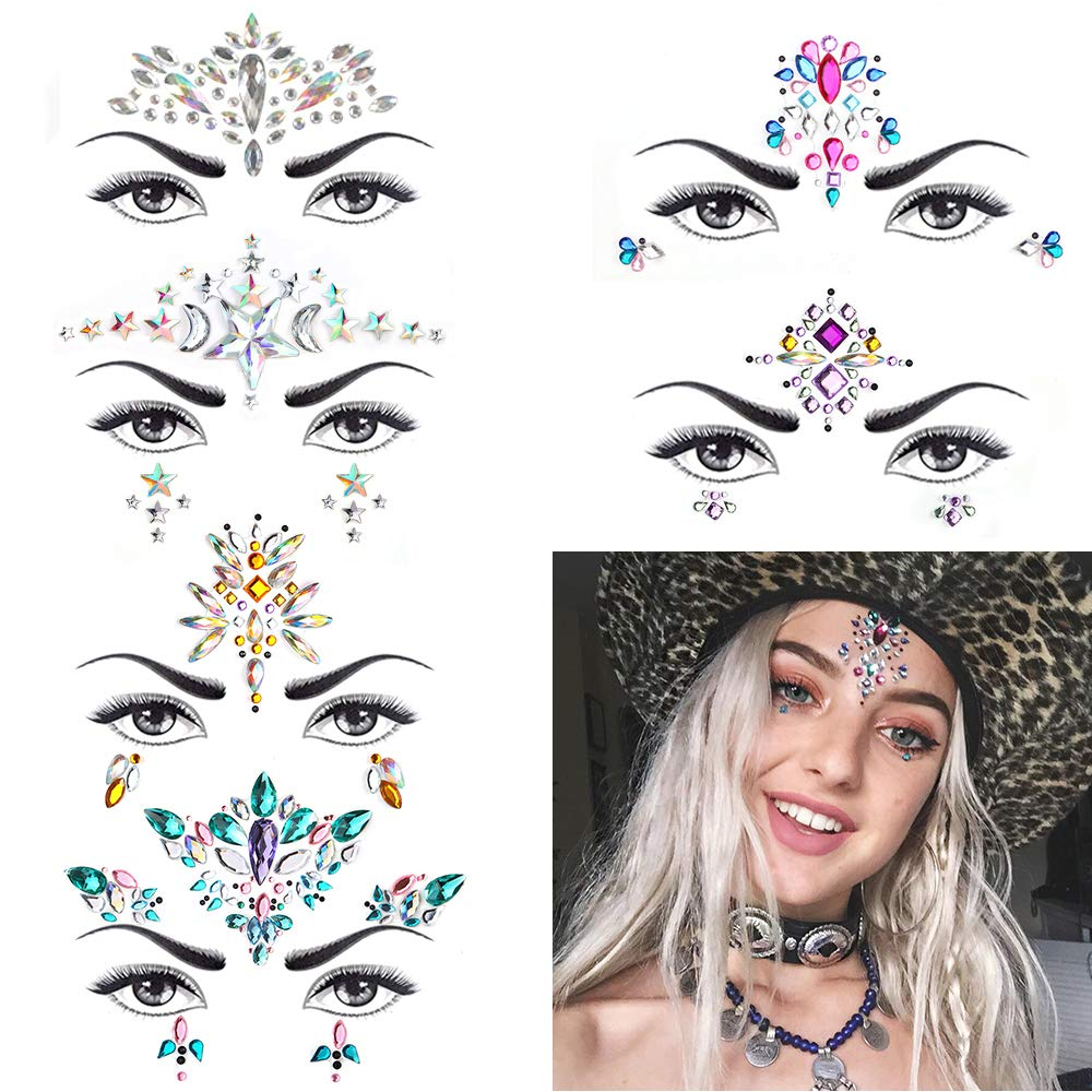 METABLE 6 Sets Mermaid Face Gems Glitter Rhinestone Rave Festival Face Jewels Crystals Face Stickers Eyes Face Body Temporary in Party DIY Decorations from Home Garden