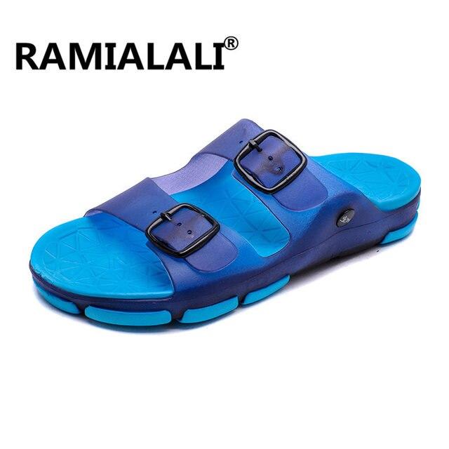 0c877ff69a95 Ramialali Mens Flip Flops 2019 Summer Men s New Style Soft Sides Shoes  Outdoor Beach Men s Slippers Massage Men Footwear
