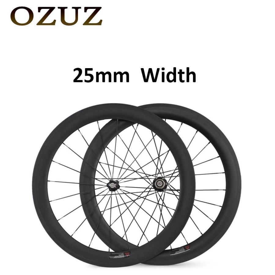 OZUZ 25mm Width 60mm depth Carbon Road Bike Bicycle Wheels 700C Wheelset 3K Matte or Glossy Carbon Wheels carbon wheels 700c 88mm depth 25mm bicycle bike rims 3k ud glossy matte road bicycles rims customize carbon rims