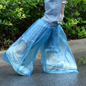 5 PairsHigh jakości wodoodporne grube antypoślizgowe trwałe plastikowe przeciwdeszczowe pokrowce na buty jednorazowe wysokiej góry pokrowce przeciwdeszczowe na buty pokrowce na buty tanie i dobre opinie Velishy Buty covers Z tworzywa sztucznego Stałe Shoes Covers waterproof