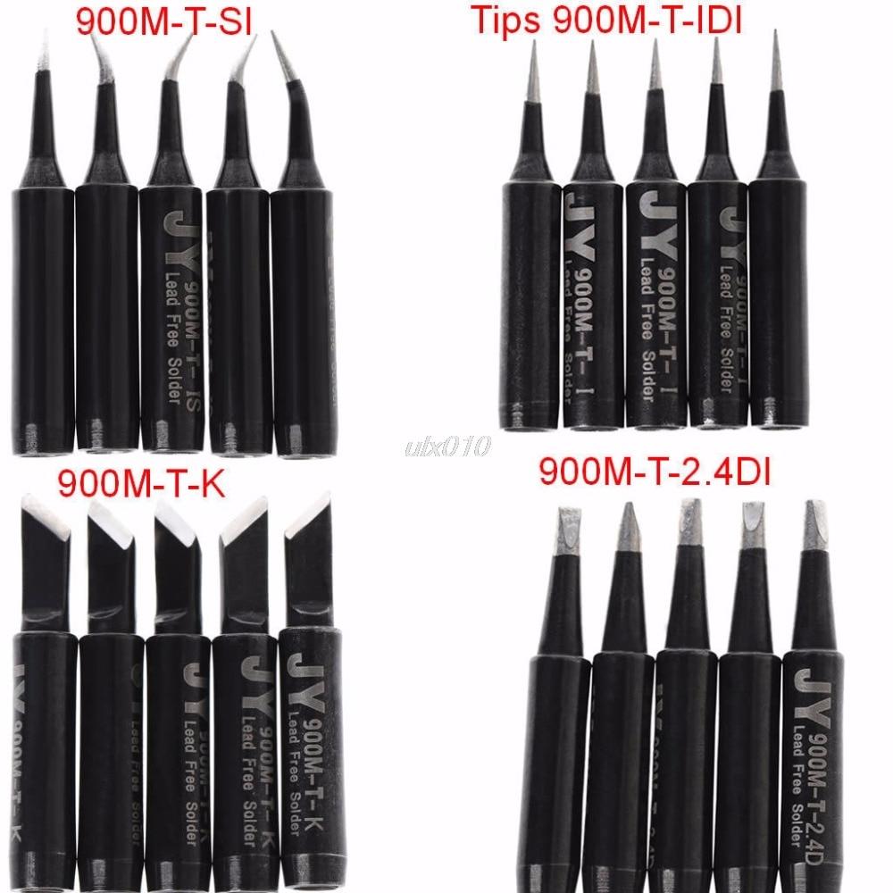 5pcs Soldering Iron Tip 900M-T Lead Free For Hakko Saike 936 852d 909D Weld Set