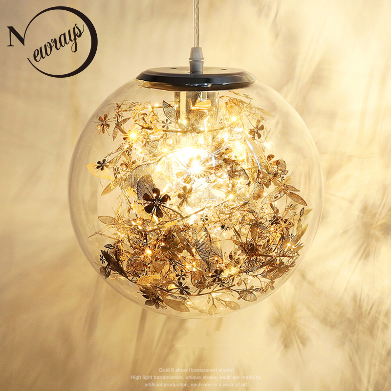 Modern creative glass ball flower pendant light LED E27 4 colors loft Nordic hanging lamp for living room bedroom kitchen cafe