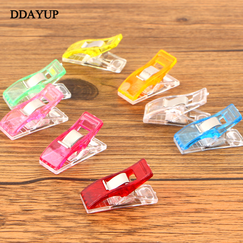50Pcs/pack Plastic Binder Clips 3.5*1.8cm Office Clip For Patchwork Sewing DIY Crafts Paper Stationery School Color Random