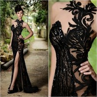 Sexy Vintage Lace Evening Prom Gowns Sexy Black Sweetheart Neckline Beaded Floor Length Formal Wedding Party Dress