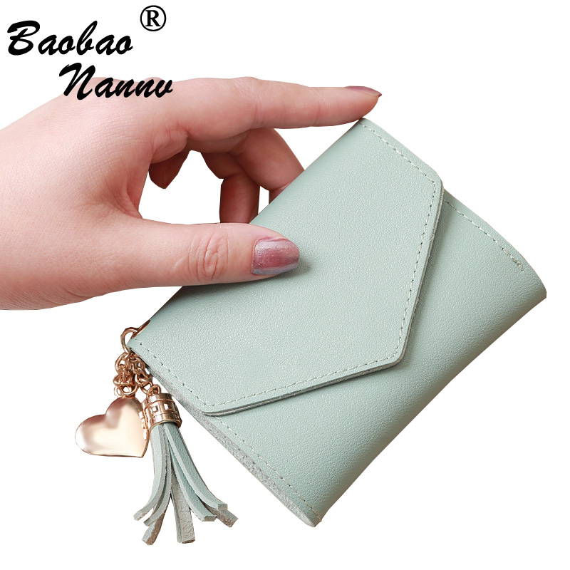Short Wallet Women Wallets Cute Love Tassel Fashion Hasp Coin Purse Card Holder Female Clutch Money Bag PU Leather Lady Purses