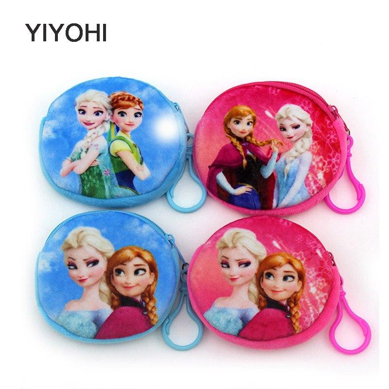 YIYOHI New 2017 Kawaii Cartoon Elsa /Anna 3D Print Children Plush Coin Purse Zip Change Purse Wallet Kids Girl Women For Gift