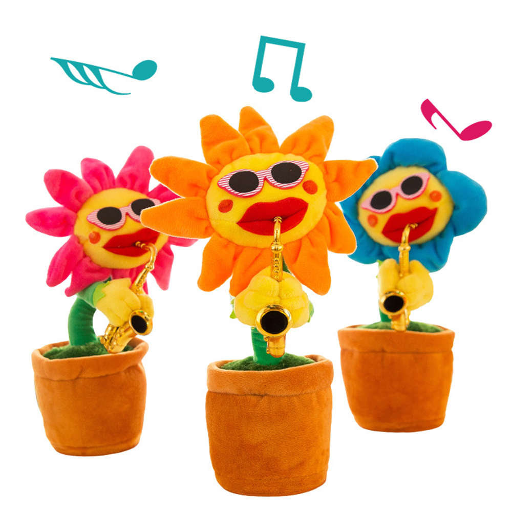 Electric vocal toy Sunflower Soft Stuffed Plush kids toys for children girls boys fun doll dance funny gift gifts birthday