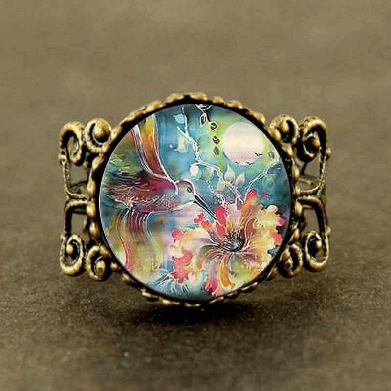 Vintage Movie Hummingbird With Flower Mens Ring New Fashion brass silver Ring steampunk Jewelry Gift women