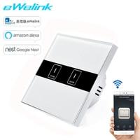 Ewelink Tactile Mur Wifi Interrupteur de Lumière, intelligent Accueil UE Intelligent 2 Gang Panneau Intelligent Commutateur Sans Fil de Contrôle À Distance Par Téléphone