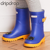 DRIPDROP Natural Rubber Rain Boots for Kids Girls Boys Waterproof Boots Adjustable Buckle Different Colors