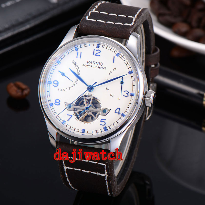 лучшая цена Parnis 43mm watch White Dial Power Reserve pointer seagull 2505 automatic Mechanical men's watch