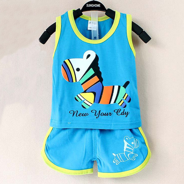 2017 New summer baby clothing set cotton Cute pattern Vest & shorts baby boy clothing sets 0-2 year baby suit set baby clothes  3