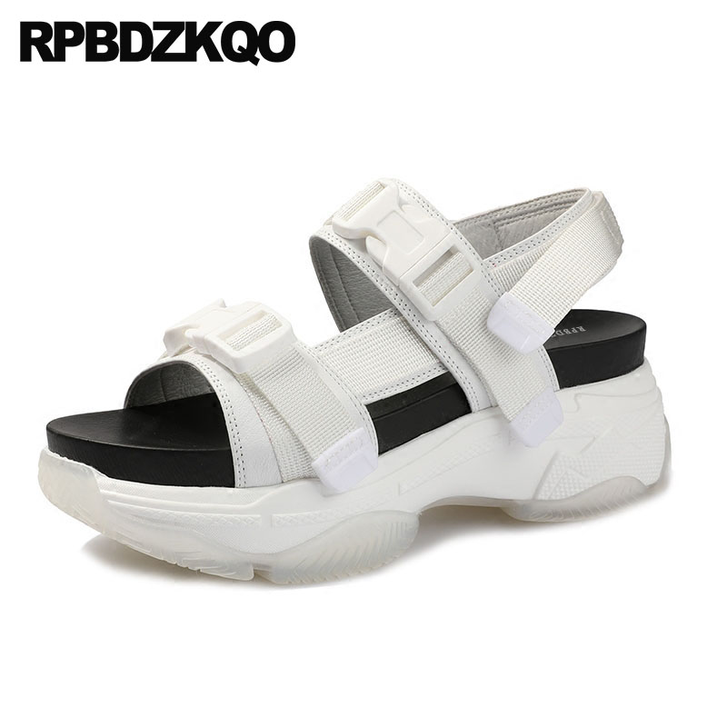 Women Genuine Leather Double Strap Sandals Slingback Flat Open Toe White Flatform Wide Fit Shoes Famous Brand Sneakers Strappy