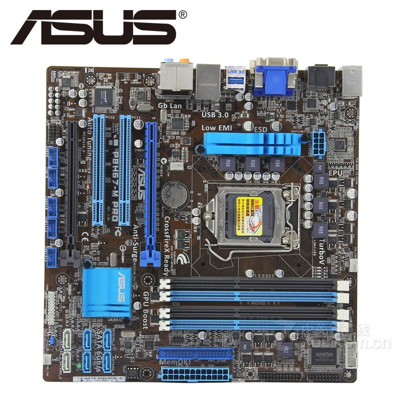 Asus P8H67-M PRO Desktop Motherboard H67 Socket LGA 1155 i3 i5 i7 DDR3 32G u ATX UEFI BIOS Original Used Mainboard On Sale asus p8b75 m lx desktop motherboard b75 socket lga 1155 i3 i5 i7 ddr3 16g uatx uefi bios original used mainboard on sale