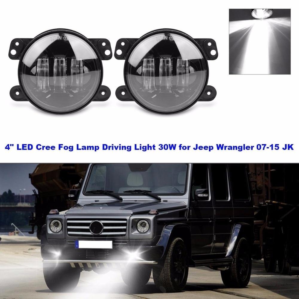 TURBOSII 4 Inch Jeep LED Fog Light for Jeep Wrangler JK TJ LJ Tractor Boat Led Fog Lamps Bulb Auto Led Headlight Driving Offroad Lamp Front Bumper Lights