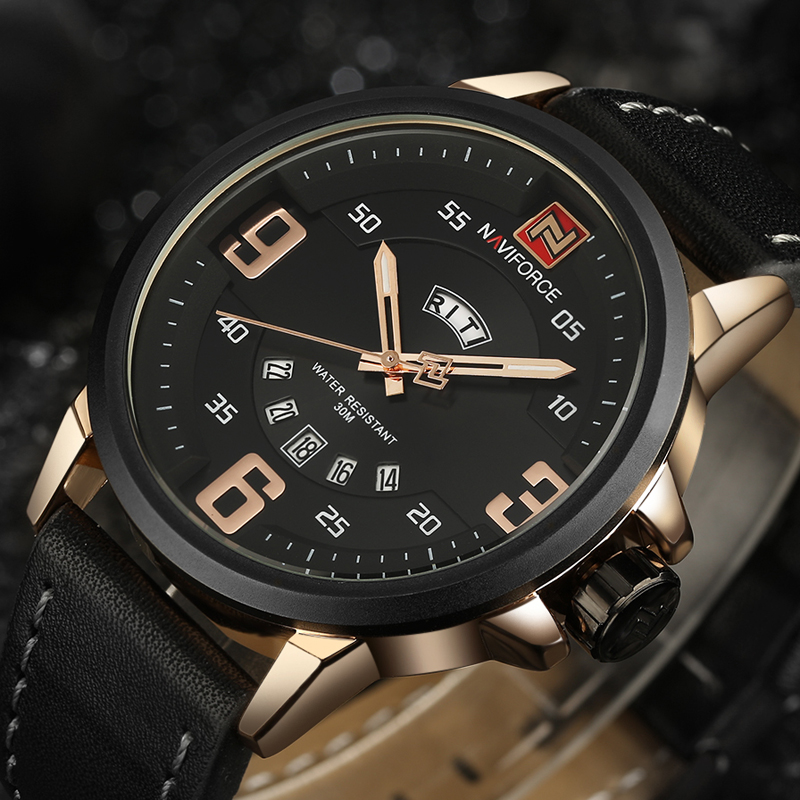 NAVIFORCE Brand Fashion Sports Watches Men Analog Quartz wristwatches Man Leather Waterproof Date Clock Male Relogio Masculino
