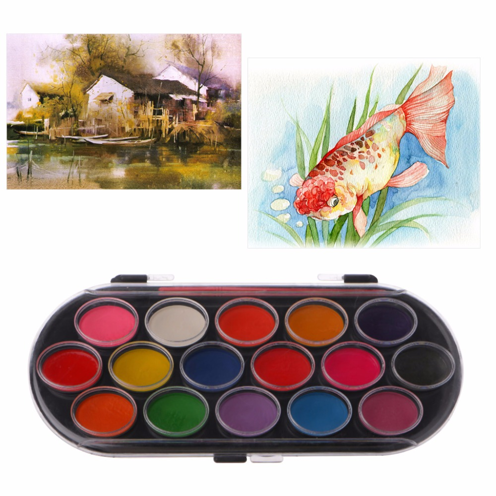 16 Colors  Watercolor Palette Brush Set Painting Tray Craft Drawing Art Mini Kid Gift Painting Supplies School Student C26
