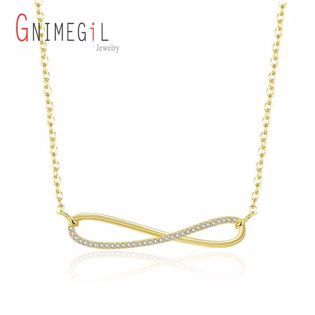 Gnimegil Gold Color Infinity Symbol Pendant Necklace For Women With Cz Stone Wedding Engagement Promise Jewelry