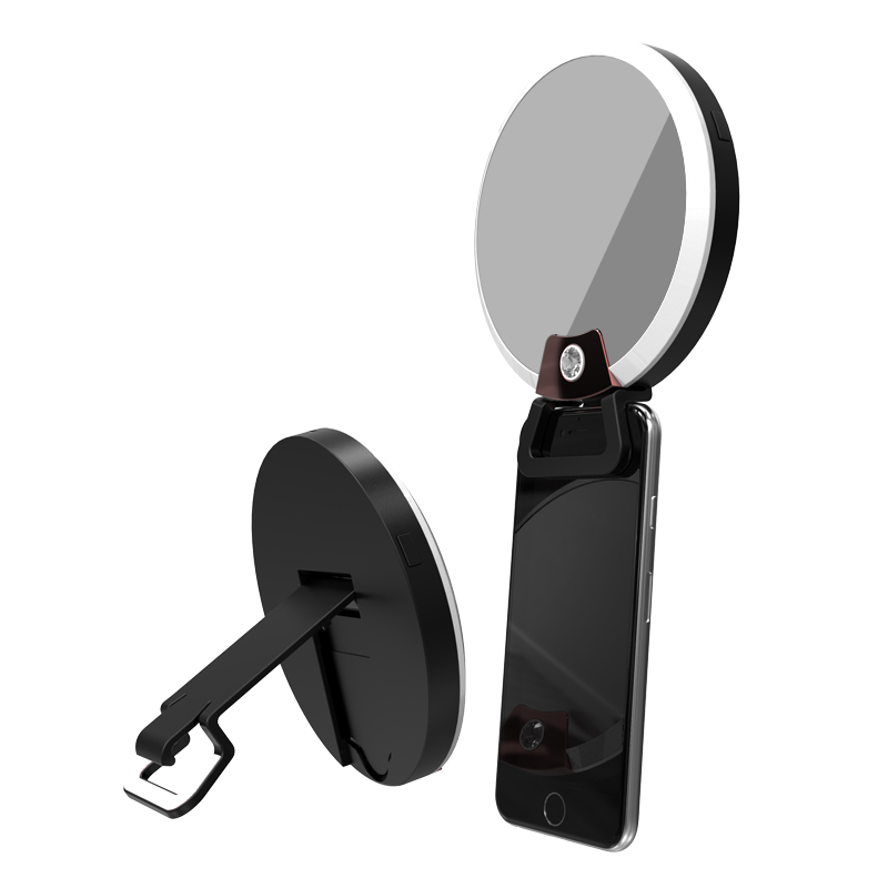 BIBOVI Universal Makeup Mirror LED Flash Fill Light Cosmetic Bag For IPhone SE X 6