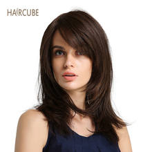 Haircube 16 Inch Synthetic Fiber Hair Lace Front Wig Natural Wave Brown Color Long Glueless Hair Wigs With Bangs Side Part fashion long side bang synthetic shaggy natural wave brown adiors wig for women