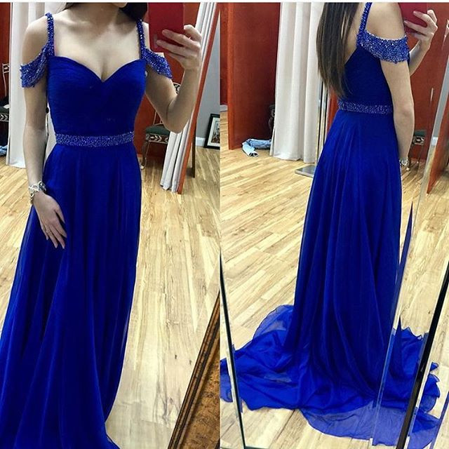 70e3693ef5 Sexy Off the Shoulder Royal Blue Prom Dresses Long 2019 Beaded Straps And  Belt Sparkly A